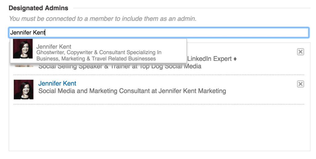 To add a new administrator, type the name of the person in the field provided.
