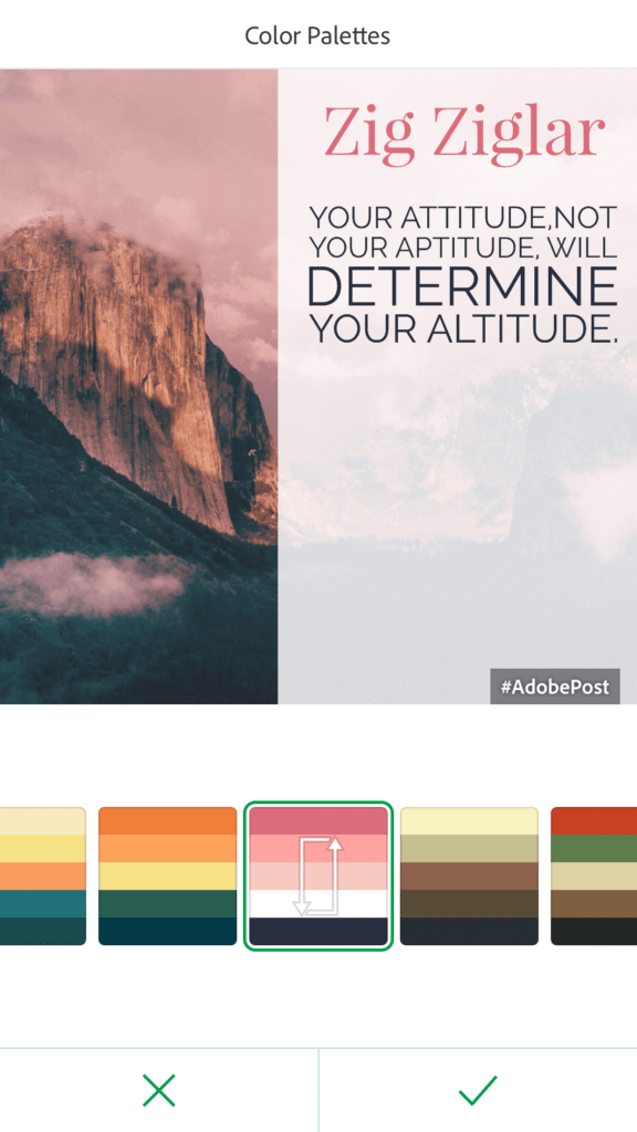 Keep tapping that same palette option to see different variations of that color palette.