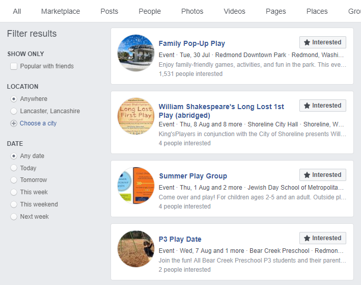 Use Facebook search to find events.