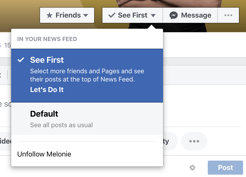 Set Facebook Follow notifications to See First